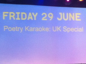 Poetry Karaoke: UK Special (Poetry Parnassus at London SouthBank Centre)