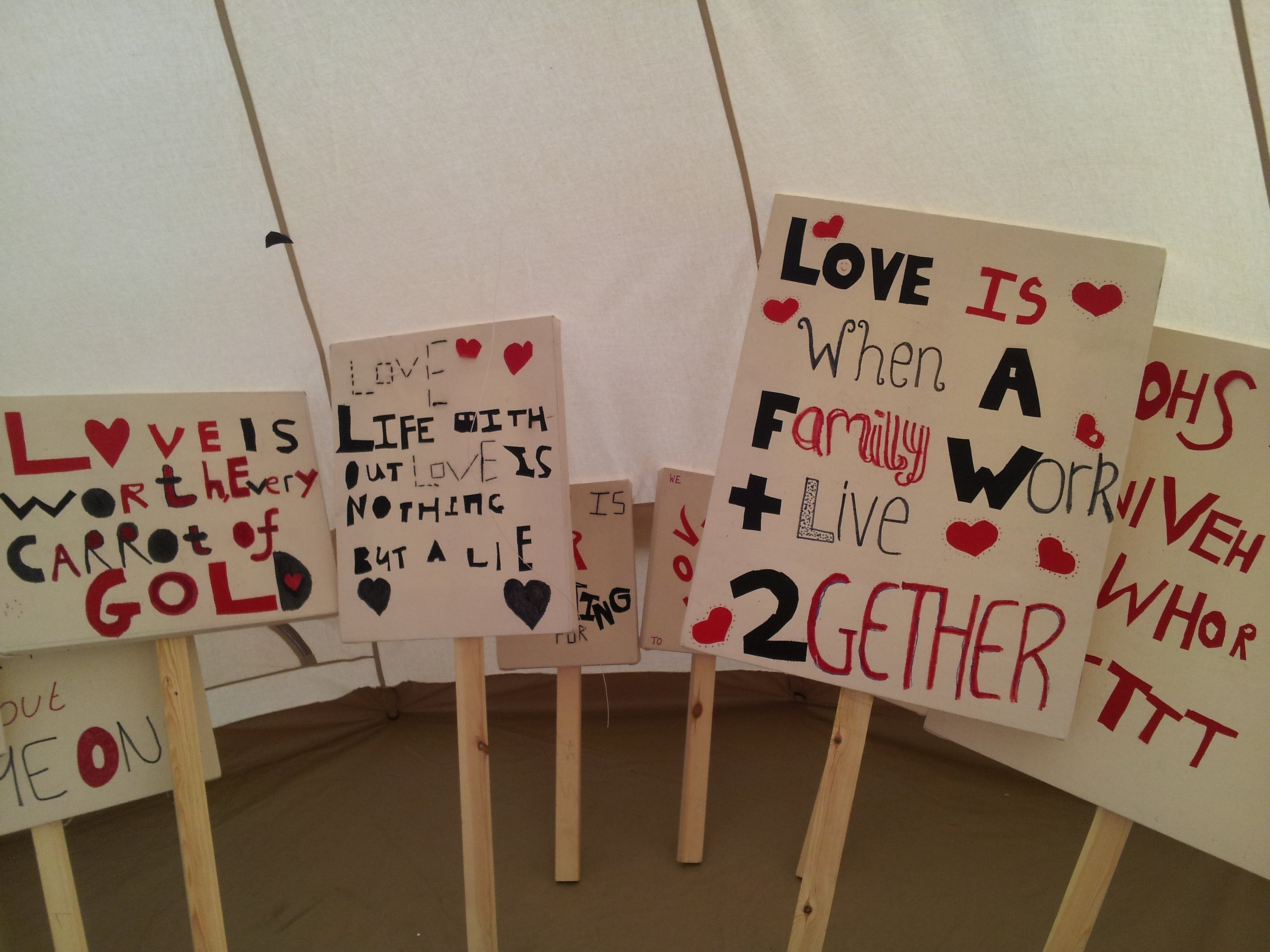 Peace Camps artwork by students of Acland Burghley School London