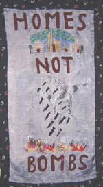 Homes Not Bombs: Banner art by poet Theresa Wolfwood.